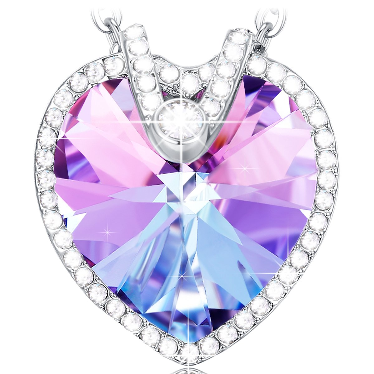 NEEMODA Heart Necklace for Women Crystal Pendant Jewelry Gifts for Her Girls Birthday Anniversary Valentines Mothers Day