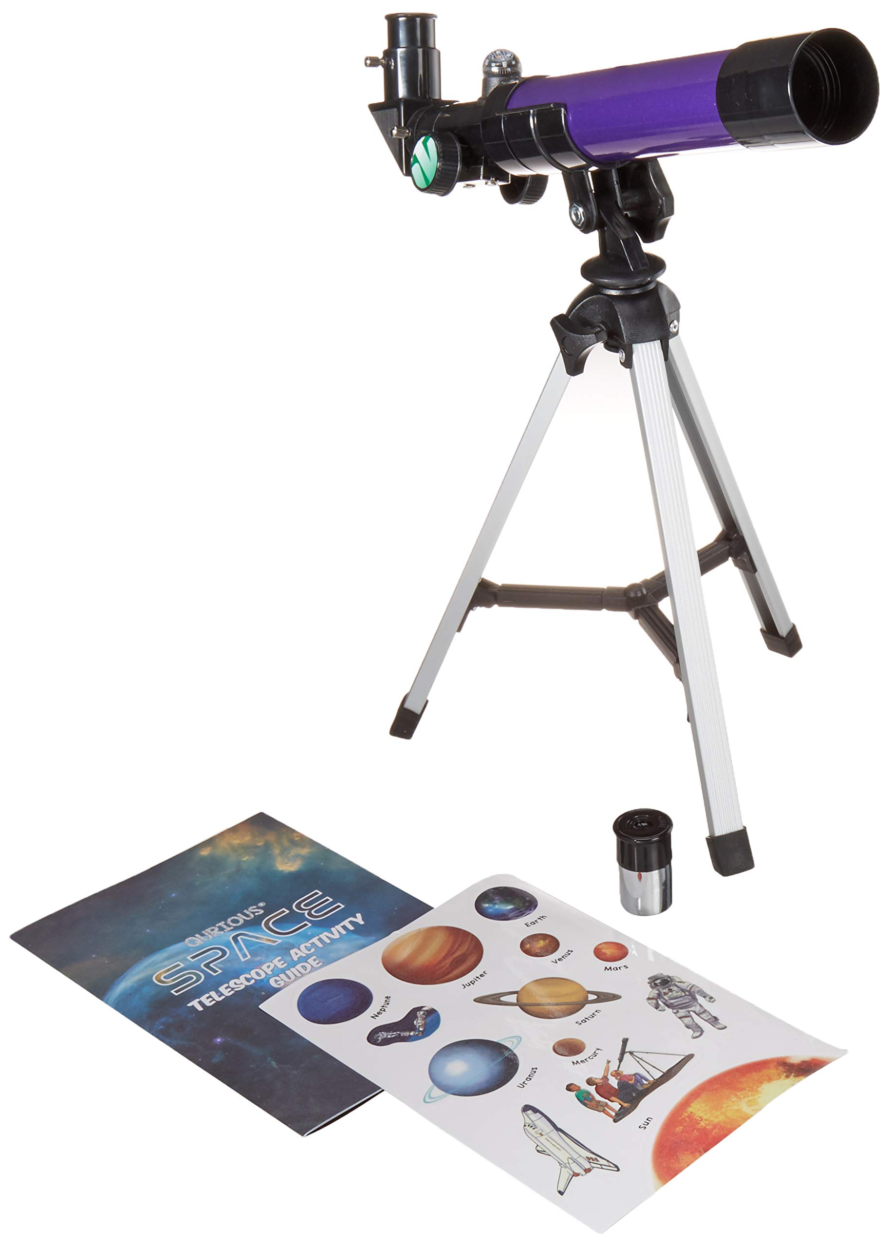 Qurious Space Kid's Explorer Telescope Gift Kit w Eco Carry Case 1650 | Children & Astronomy Beginners | Moon Travel Scope | Tabletop Tripod | Compass | Glow-in-The-Dark Stickers | Science Education by Qurious