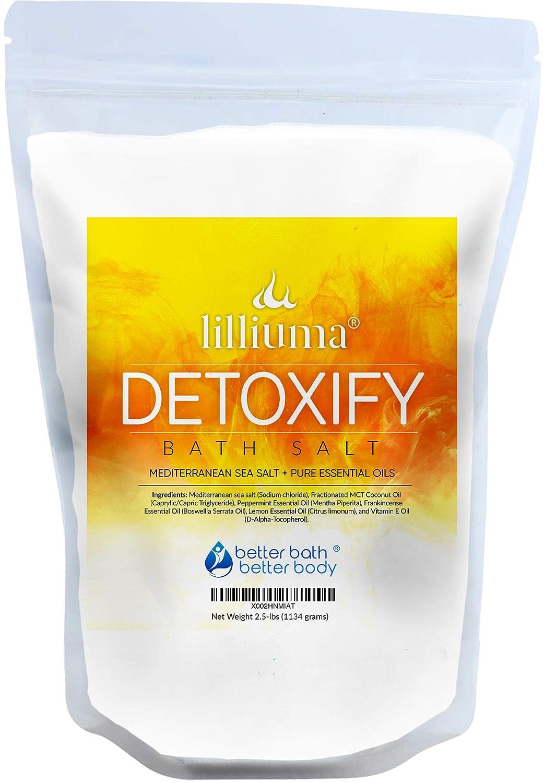 Detoxify Bath Salt 40 Ounces Mediterranean Sea Salt with Peppermint, Frankincense, and Lemon Essential Oils, High-Quality Natural Detox Bath
