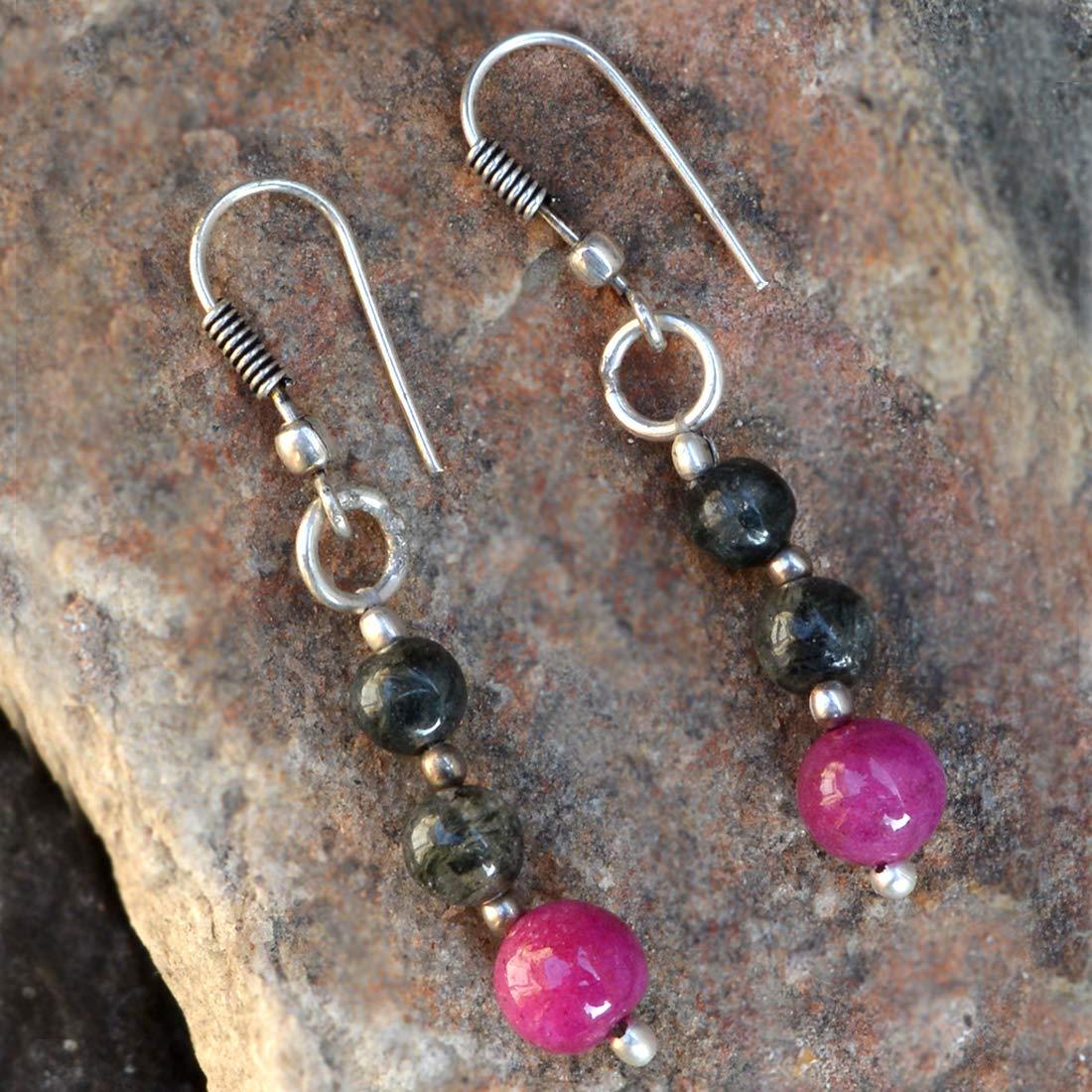 Saamarth Impex Pink Jade /& Rutile Quartz 925 Silver Plated Dangle Earring PG-131975