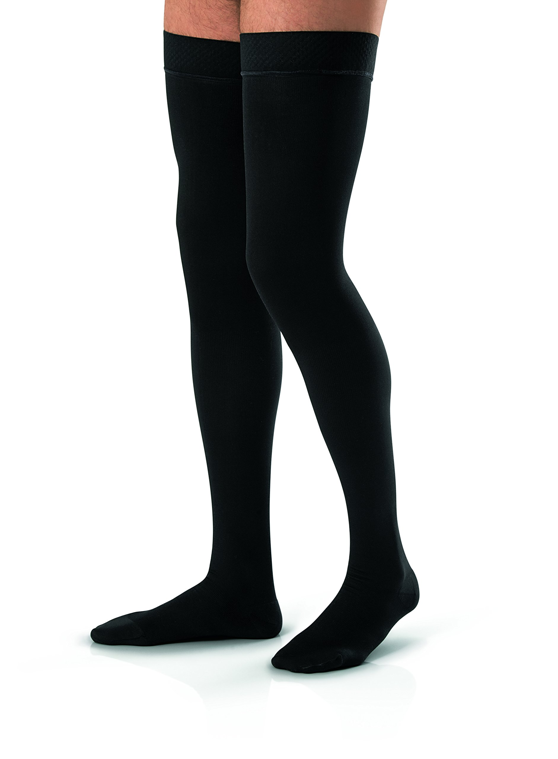 JOBST forMen Thigh High 30-40 mmHg Ribbed Dress Compression Stocking, Closed Toe, X-Large, Black