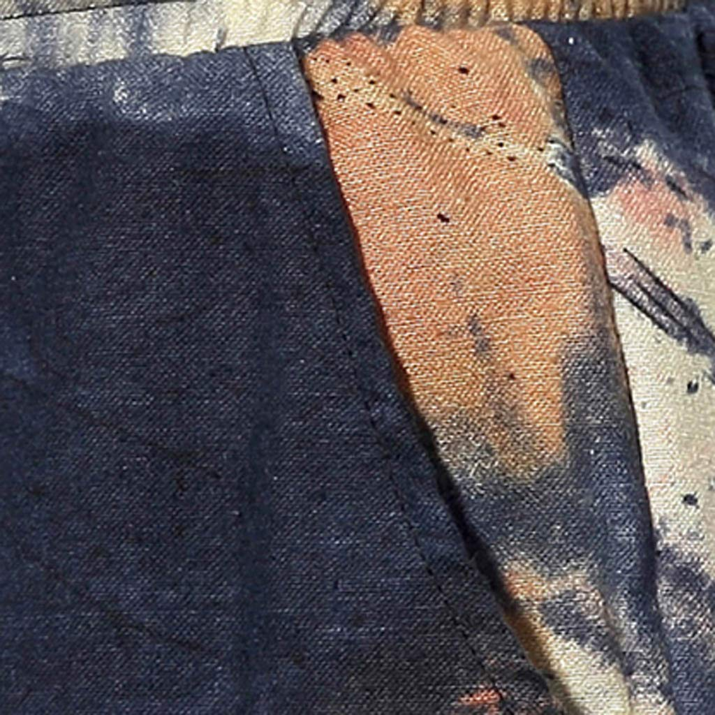 VPASS Pantalones Hombre Verano Moda Casual Impresi/ón Pantalones Pop Lino Suelto Pants Trend Ch/ándal de Hombres Jogging Cortas Pantalones Pantalones de Playa Dise/ño de Personalidad
