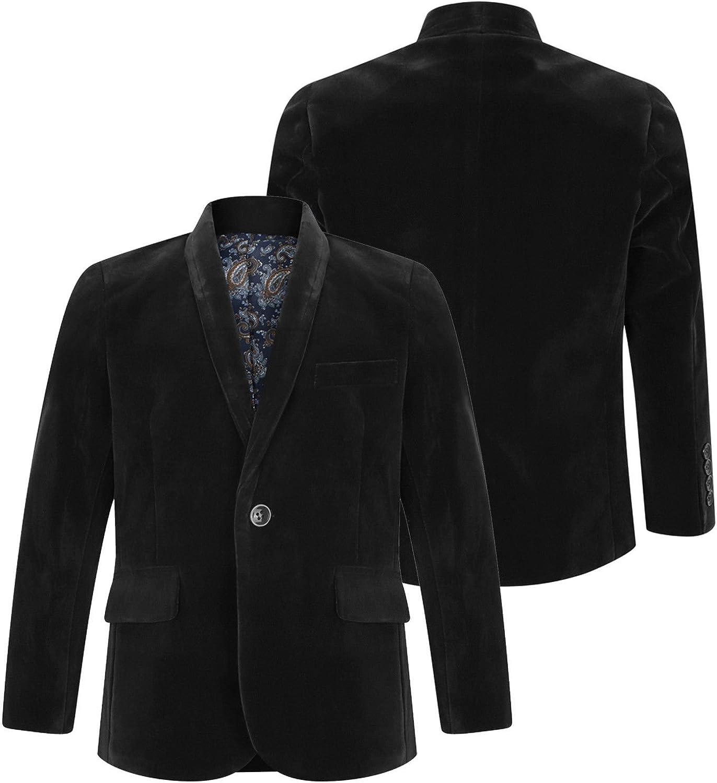 Boys Velvet Blazer Jacket Black Navy Burgundy 1 to 15 Years 8, Black