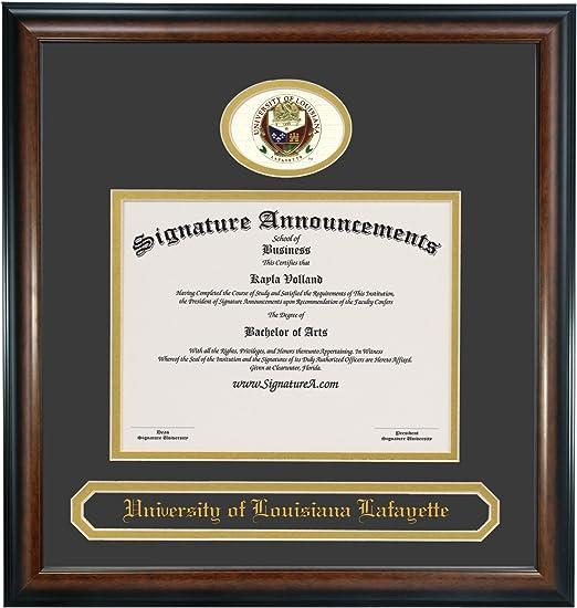 Name /& Tassel Graduation Diploma Frame 16 x 16 Matte Mahogany Signature Announcements University of Louisiana at Lafayette Undergraduate Professional//Doctor Sculpted Foil Seal