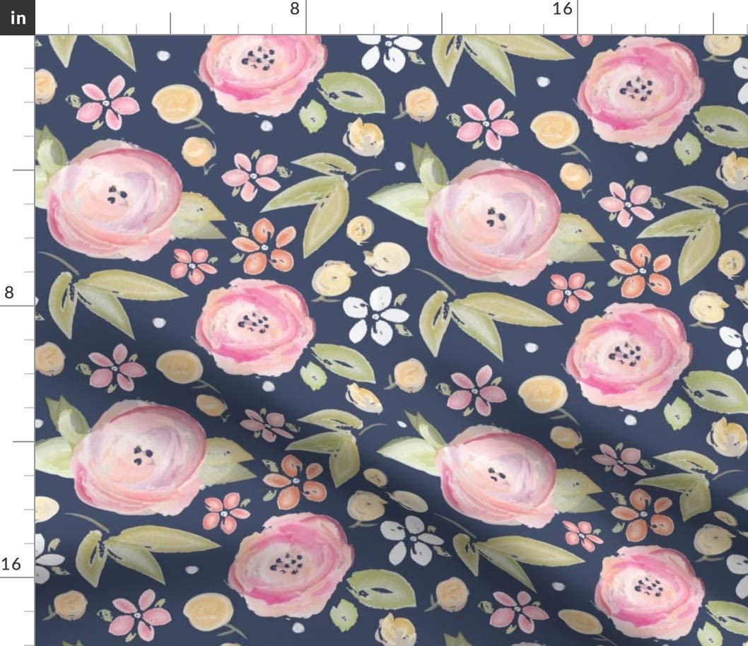 Spoonflower Fabric - Watercolor Floral Navy Pink Flowers Painted Spring Shabby Chic Nursery Printed on Petal Signature Cotton Fabric by The Yard - Sewing Quilting Apparel Crafts Decor