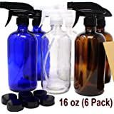16 oz Glass Spray Bottles - 6 Pack - with Labels Refillable Container in Clear Amber Cobalt Blue Glass Boston Bottle for Cleaning Products, Aromatherapy Trigger Spray Bottle Dispenser