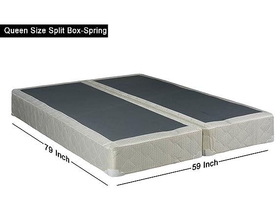 Continental Sleep 8 Queen Size Split Foundation Box Spring For Mattress Off White