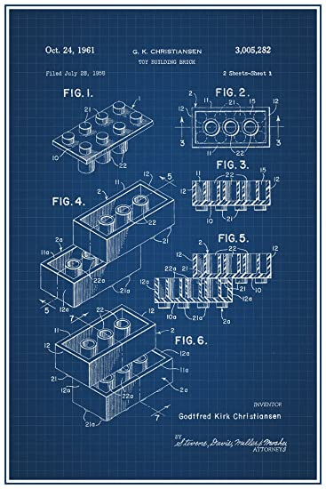 Amazon lego toy building brick official patent blueprint poster lego toy building brick official patent blueprint poster 12x18 malvernweather Images