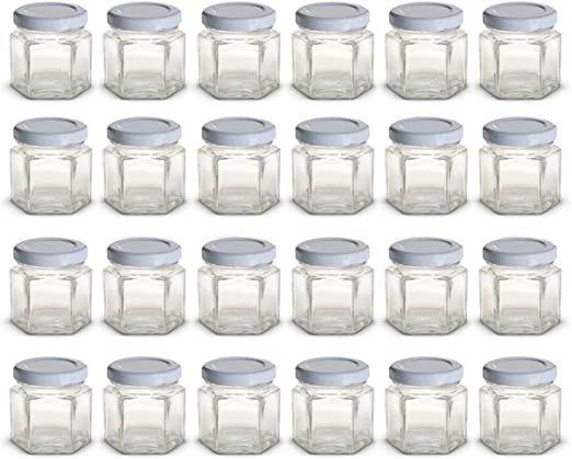 Glass Jars for CANDLES Jelly Jam 1.5 oz Lot 192 Hexagon With Gold Lids Hex