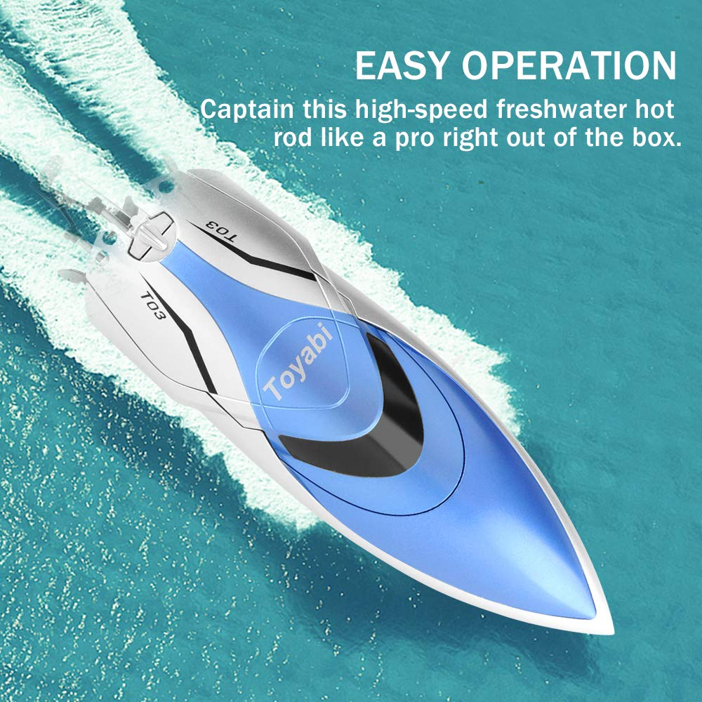 GizmoVine RC Boat High Speed (20MPH+) Remote Control Boats for Pools and Lakes with Extra Battery for Kids and Adults, 2019 Update Version (H106) by Gizmovine (Image #1)