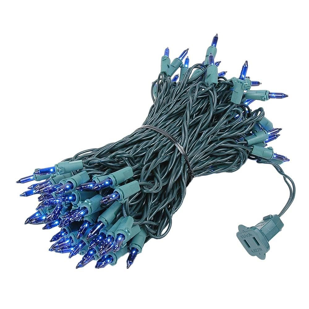Novelty Lights 100 Light Blue Christmas Mini Light Set, Green Wire, 50' Long by Novelty Lights