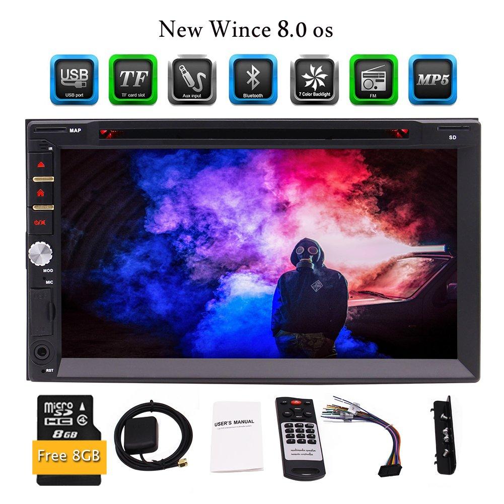 EinCarインダッシュ7インチHDタッチスクリーンGPSナビゲーションダブル2 DINカーステレオヘッドユニットDVD/CDプレーヤー(ノー地図)のブルートゥースUSB/TF/FM/AM/RDSリアカメラ入力+無料リモートコントロール8ギガバイトのSDカード B07BWBZQ9P