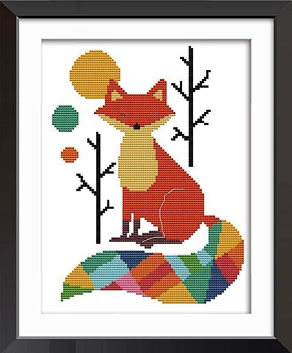 Joy Sunday 11CT Stamped Cross Stitch Kits Cross-Stitch The Kiss of Wolves DMC Threads Wolf Pattern DIY Hand Needlework kit 22x22
