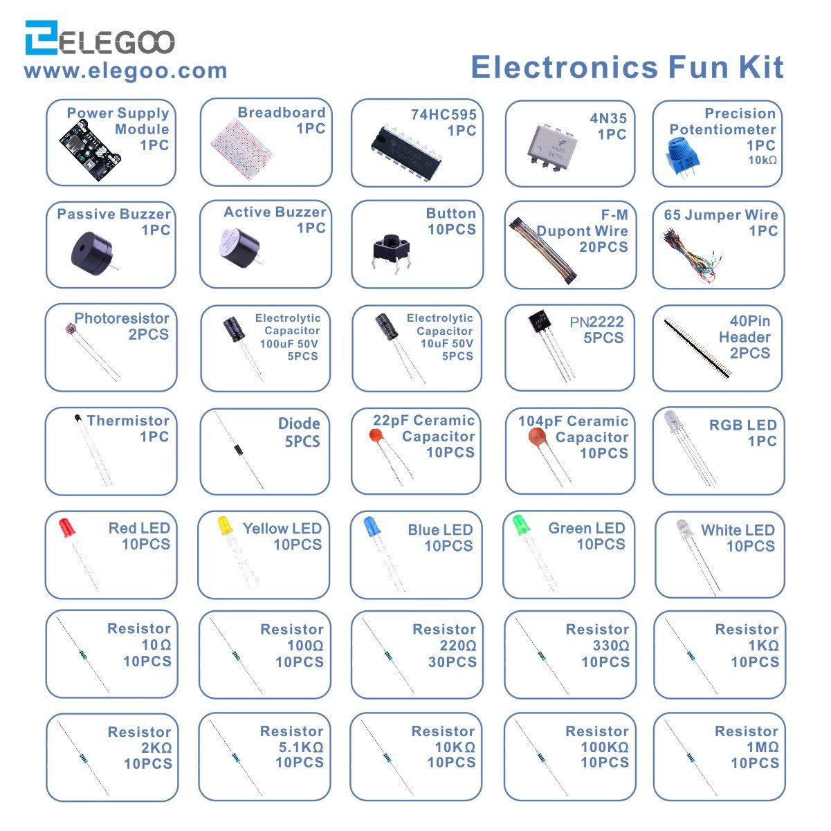 Elegoo Electronic Fun Kit Breadboard Cable Resistor Capacitor Led Topic Rgb Driver Circuit Works But Gets Hot Read 1 Potentiometer For Arduino Learning Uno R3 Mega2560 Raspberry Pi