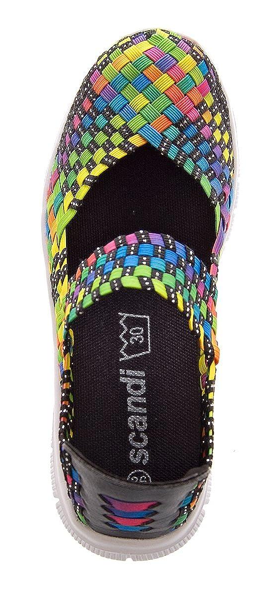 0a47c1ec0971ad Damen Ballerinas geflochten Slipper flach Sneaker elastisch Halb Schuhe  Bunt Multi-Color Sandalen Gr. 38  Amazon.de  Schuhe   Handtaschen