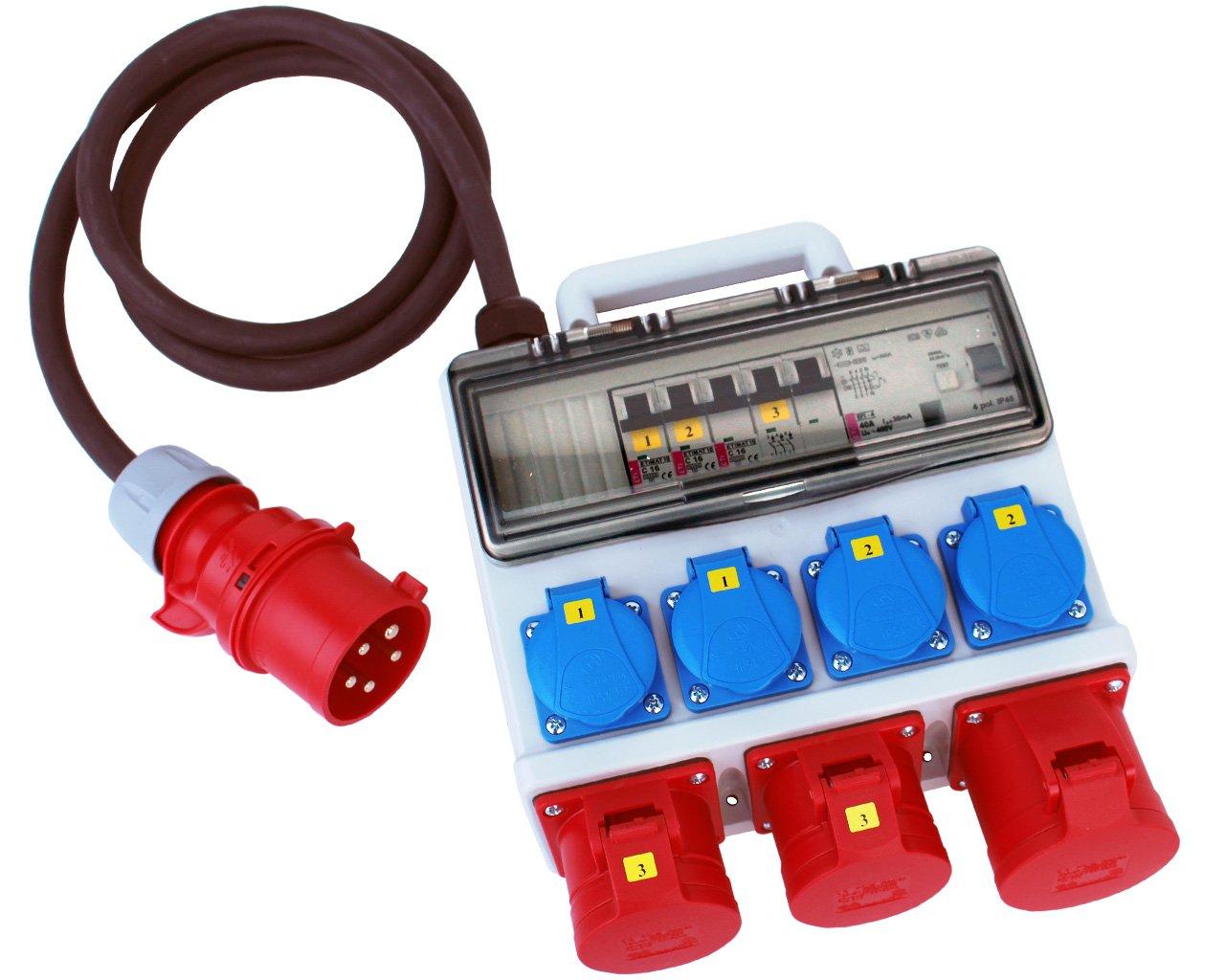 Stromverteiler 32A 400V 4 x 230V 2 x 16A 1 x 32A FI-Absicherung Baustromverteiler Starkstrom Verteiler H07RN-F 5x4mm