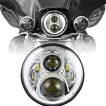 2pcs 7inch Round 50W Hi//Lo Beam Cree LED Driving Light Headlights Insert with DRL /& Halo Ring Angle Eyes