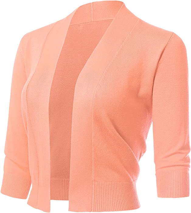 d790a1a6dbd8 ARC Studio Women s Classic 3 4 Sleeve Open Front Cropped Cardigans (S-XL