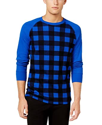 2c822e9f67 Polo Ralph Lauren Mens Waffle-Knit Thermal Shirt (Dark Blue Plaid ...