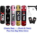 Xn8 4ft 5ft EMPTY Boxing Punch Bag Set Bracket MMA Training Bag Mitts Glove
