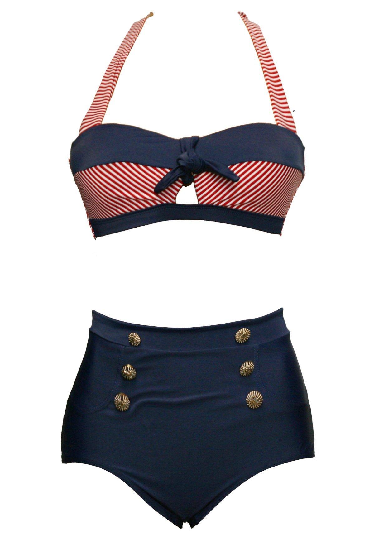 Bslingerie Ladies Retro Vintage Push up High Waisted Bikini Swimsuit Plus Size (M, Red Striped Keyhole)