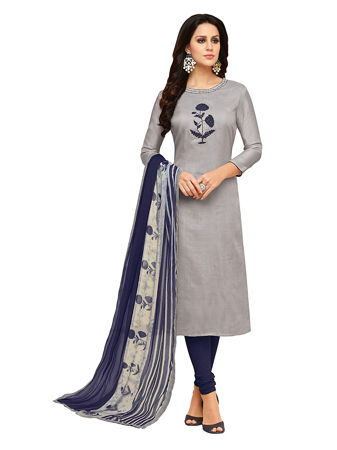 aabcacc9ff Akhilam Womens Chanderi Cotton Dress Material(Salwar Suit Sets For Women  Readymade1009_Grey_Free Size): Amazon.in: Clothing & Accessories