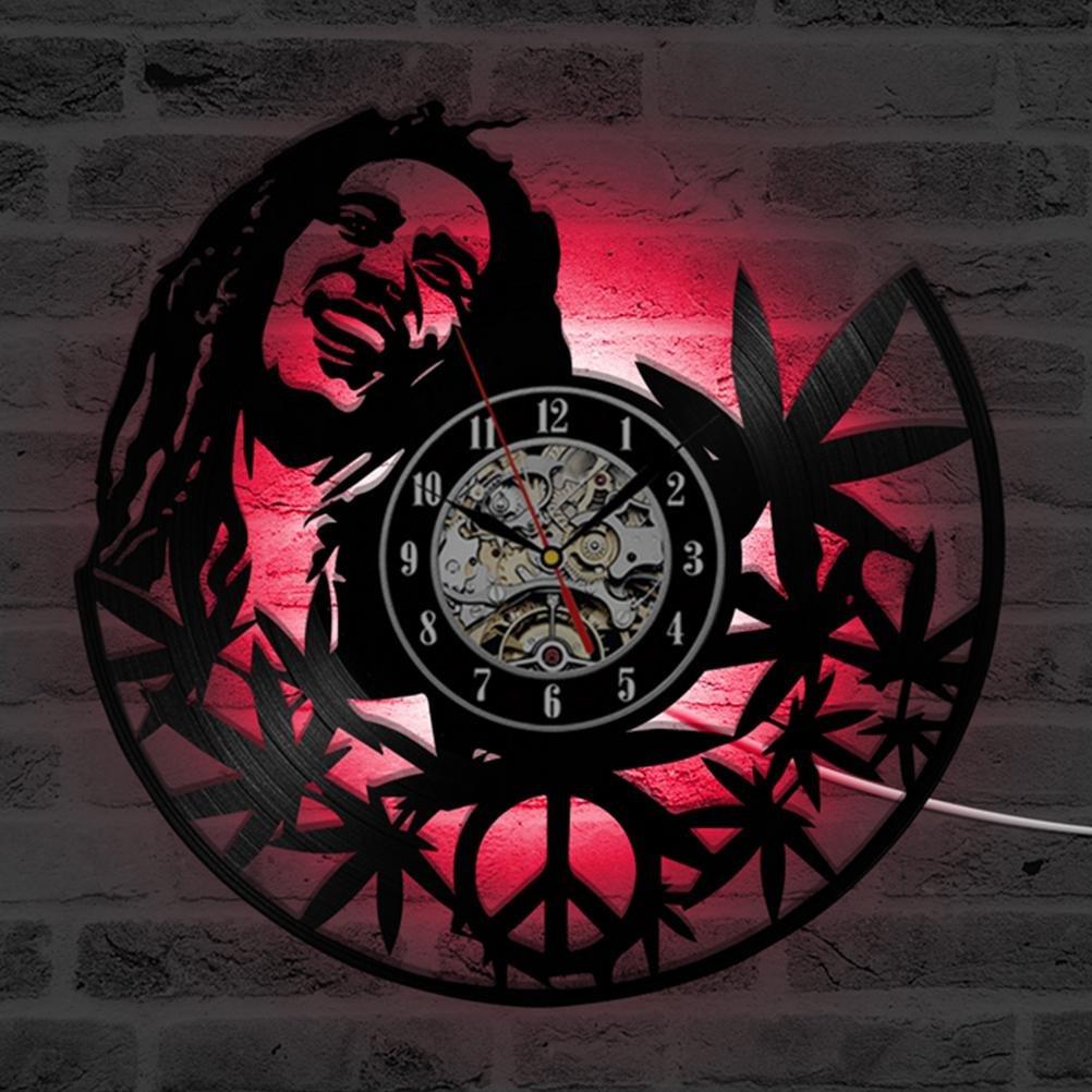 12 12 12 inches Hohle Runde Bob Marley Quarz CD Wanduhr Kreative Antiken Stil Dekorative LED Uhr Vinyl Record Clock Room Decor 99d979