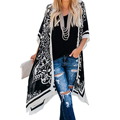 Womens Floral Printed Kimoni Beach Cover Up Open Front Casual Loose Swimwear Cardigan Black at Women's Clothing store