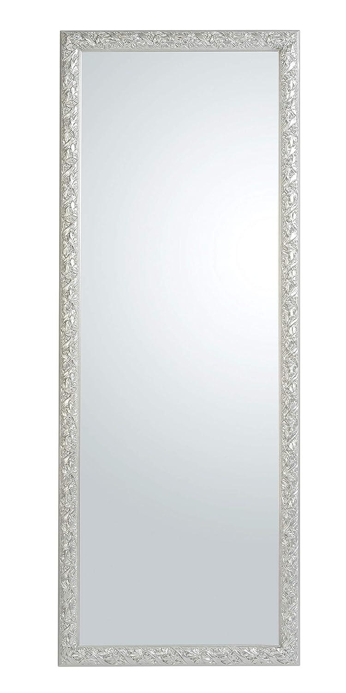 55x145 Specchio da Parete Argento Cornice in Legno Barocco Misura Esterna cm Made in Italy.