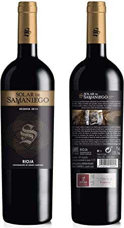 Vino tinto Solar de Samaniego Reserva 2014, uva 100% tempranillo de la D.O.CA. Rioja Alavesa. Crianza en barrica de roble. Lote de 6 botellas x 75cl