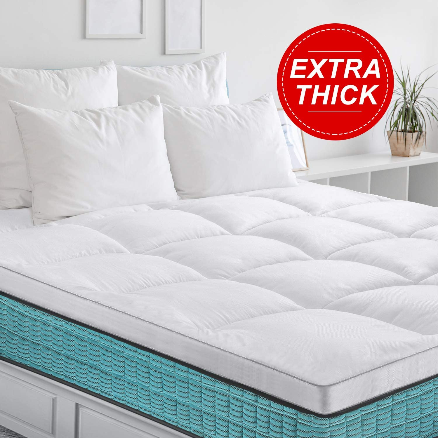 Cooling Bed Topper Plush Microfiber Filled Pillow Top Mattress Pad Cover with 4 Fixed Band BedStory Extra Thick Mattress Topper 2.5inch Twin Size