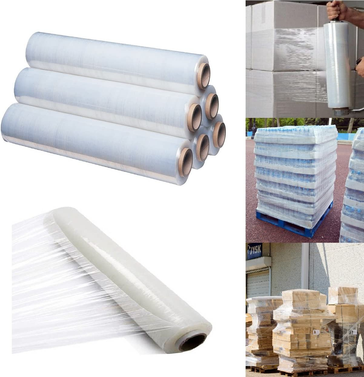 400mm X 250 meter Rolls Clear Pallet Stretch Shrink Wrap Parcel Packing Cling Film Pack of 4
