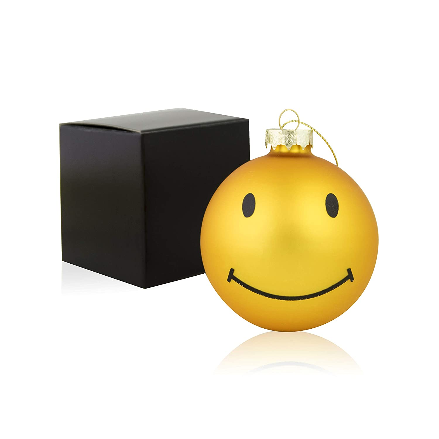 Silly Me Products Large Christmas Glass Ball Ornament - Yellow Gold Smiley Face Xmas Tree Holiday Decoration for Home, Patio & Outdoors - Emoji Party Favors – A Novel Xmas Gift - 3 Inches Round