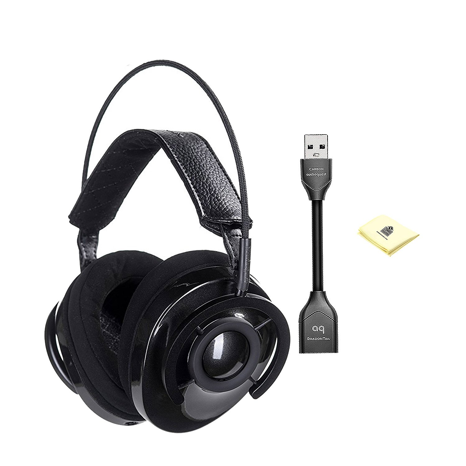 AudioQuest Carbon Around-The-Ear Headphones With Dragontail USB 2.0 Extender For the DragonTail DAC And Custom Designed Instrument Cloth (NOWLHEADCARBON)