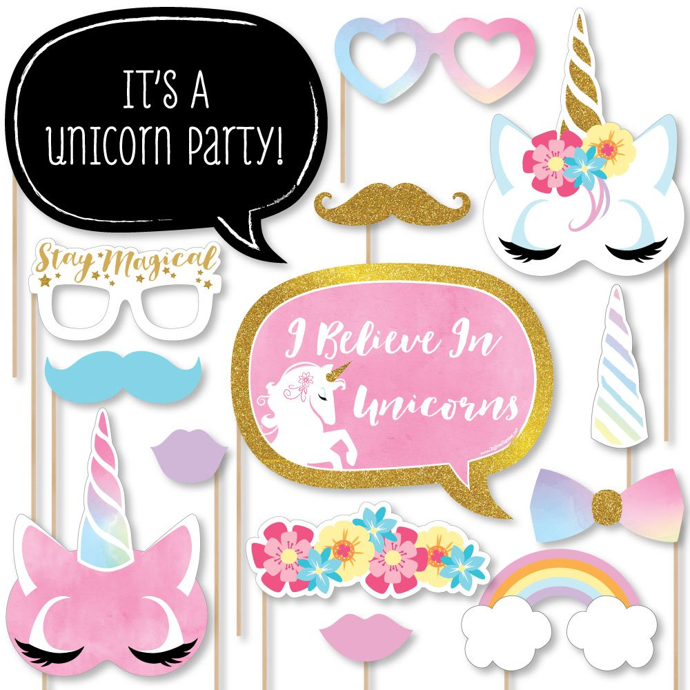 Rainbow Unicorn - Magical Unicorn Baby Shower or Birthday Party Photo Booth Props Kit - 20 Count by Big Dot of Happiness