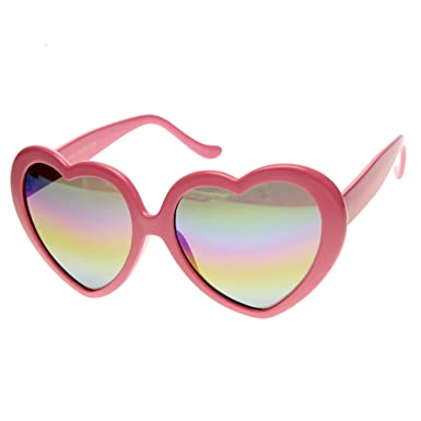 a84376db951 zeroUV - Womens Oversized Rainbow Color Mirror Lens Heart Shape Sunglasses  (Pink Rainbow)  Amazon.co.uk  Clothing