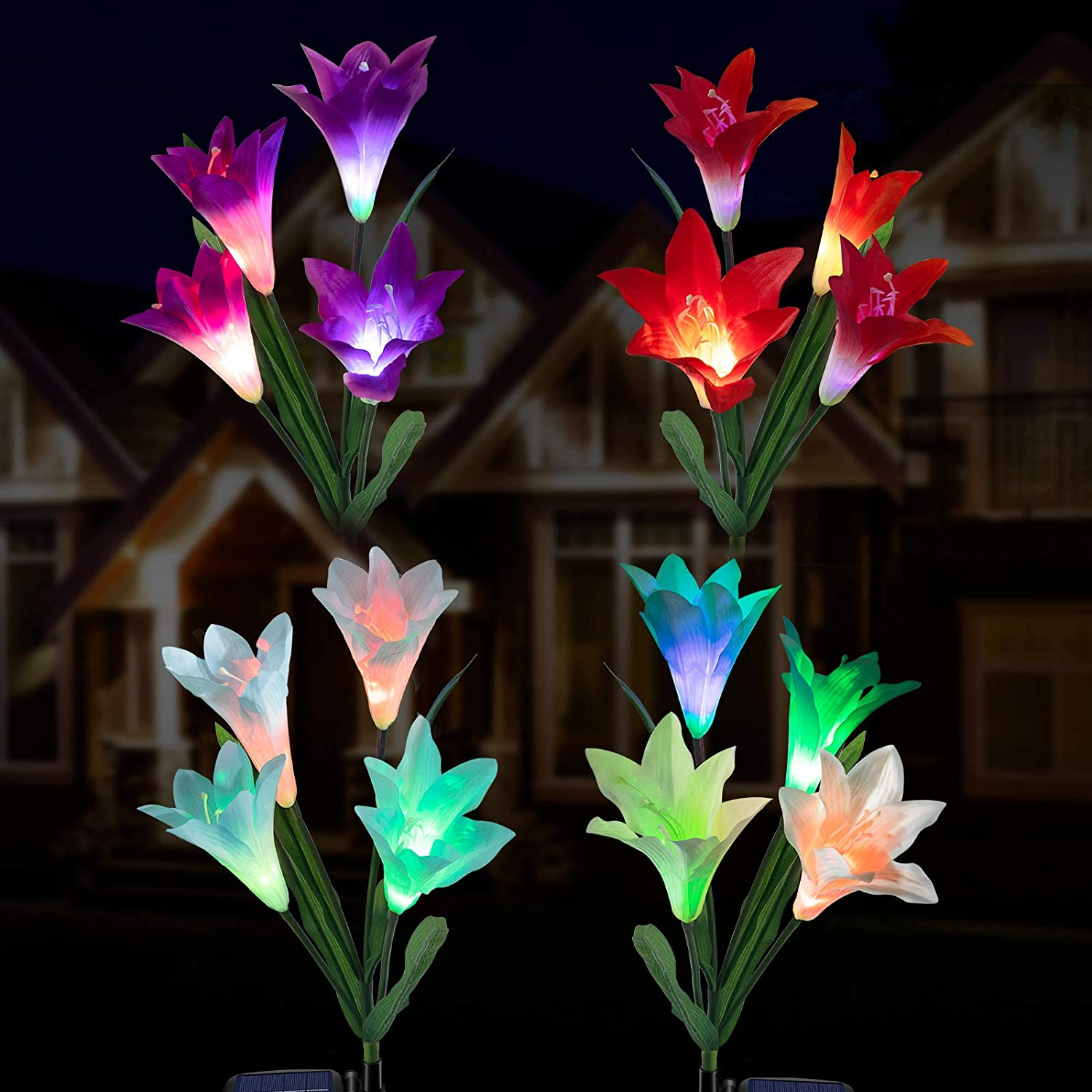 Outdoor Solar Flower Lights - 4 Pack Solar Garden Lights Color Changing with16 Larger Lily Flowers, Waterpoof Solar Garden Stake Lights for Lawn Patio Pathway Yard Farm Wedding Decoration