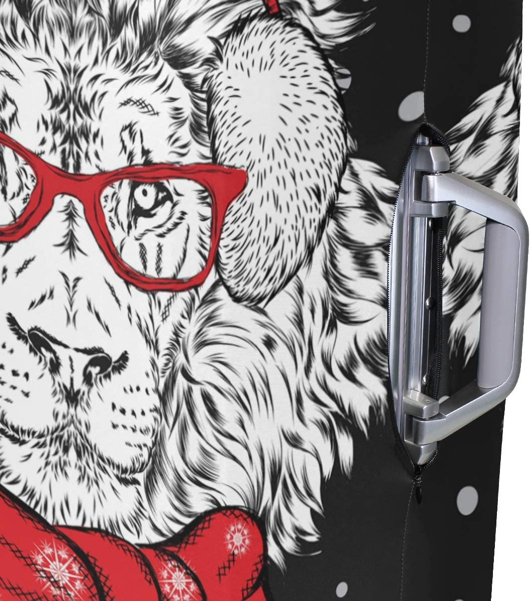 GIOVANIOR Beautiful Lion In Winter Scarf And Headphones Luggage Cover Suitcase Protector Carry On Covers