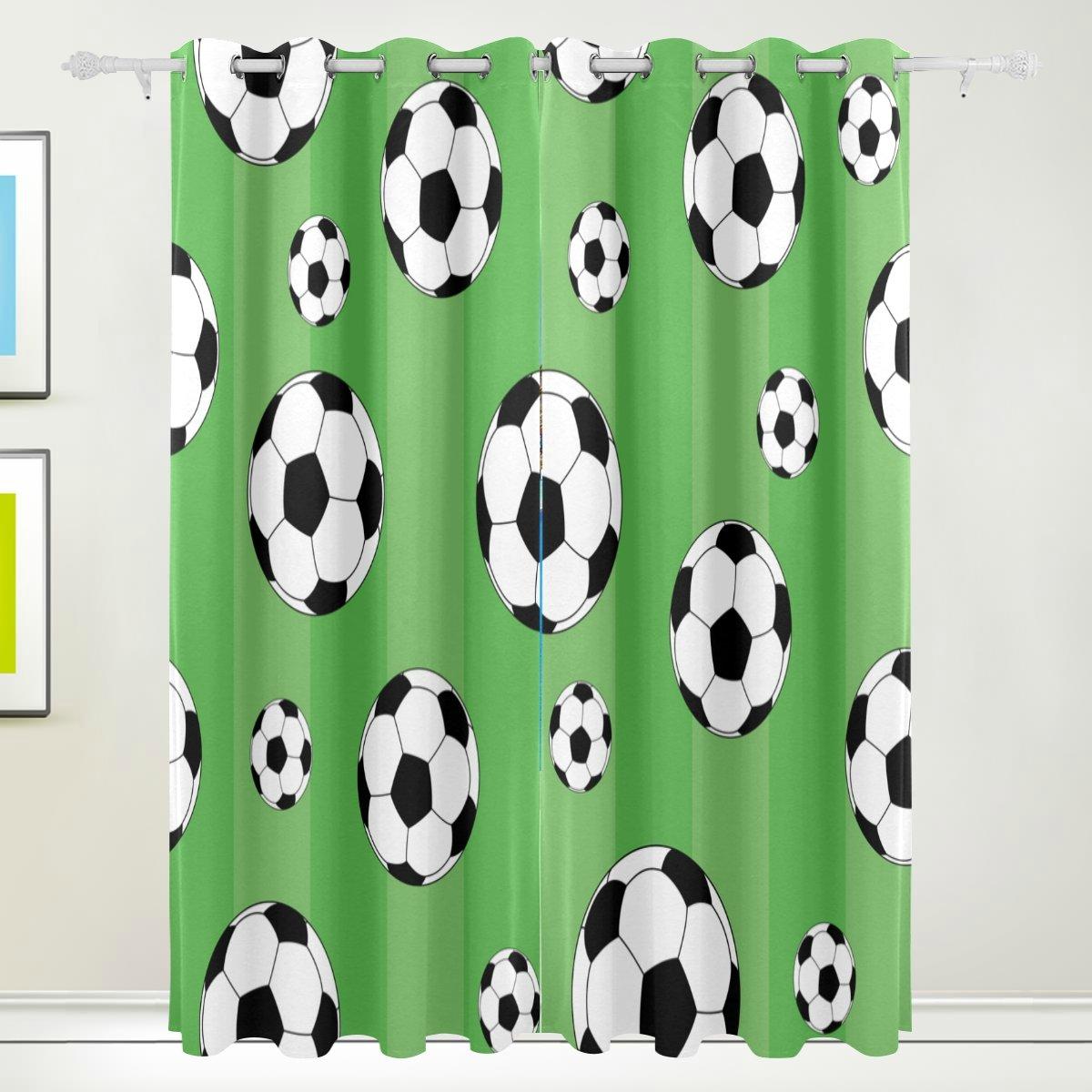 TIZORAX Fußball grün Vorhänge Verdunkeln zur Wärmedämmung Fenster Panel Drapes für Home Dekoration 213,4 x 139,7 cm Set von 2 Panels