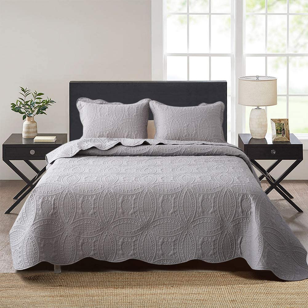 Queen King Size Gray Grey Embossed Oversized 3 pc Quilt Set Coverlet Bedding