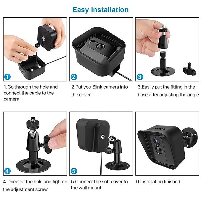 Soporte de Montaje de Pared Ajustable de 360 Grados y Piel Protectora de Silicona para Cámara de Seguridad Interior/Exterior Blink XT (1, Negro): Amazon.es: ...