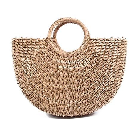 ee6449fb39d1 Amazon.com: Fashion Outdoor Summer Beach Bag Hand Woven Straw Bags ...