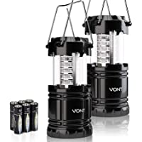 Vont 2 Pack LED Camping Lantern, Super Bright Portable Survival Lanterns, Must Have During Hurricane, Emergency, Storms…