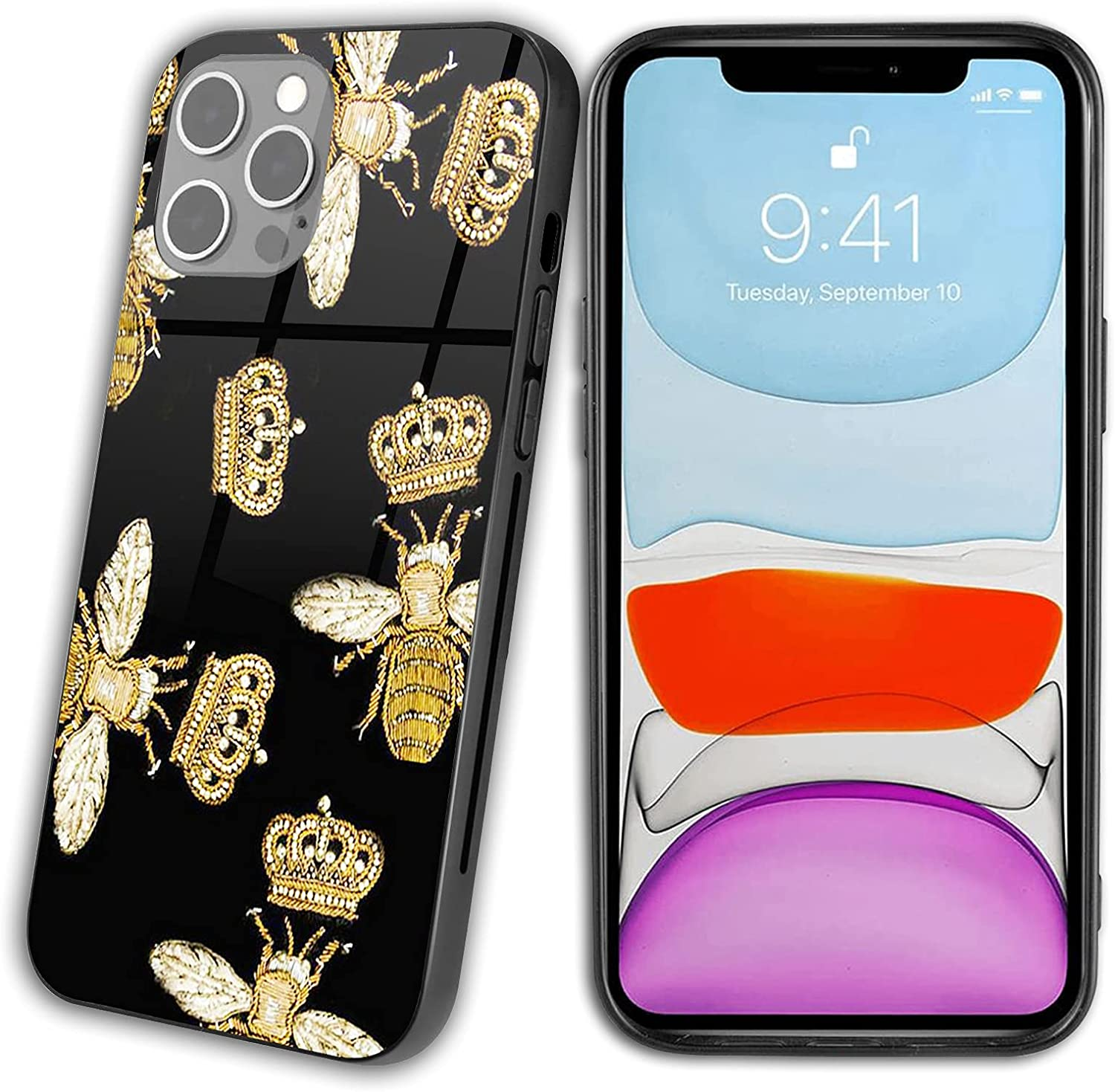 iPhone 12 Case,Queen Bee Crown Honeybee Golden Crown Jewelry Gold Bee Pattern Art Tempered Glass iPhone 12 Cases for Women,Pattern Design Shockproof Anti-Scratch Case for iPhone 12 6.1in Bee Crown