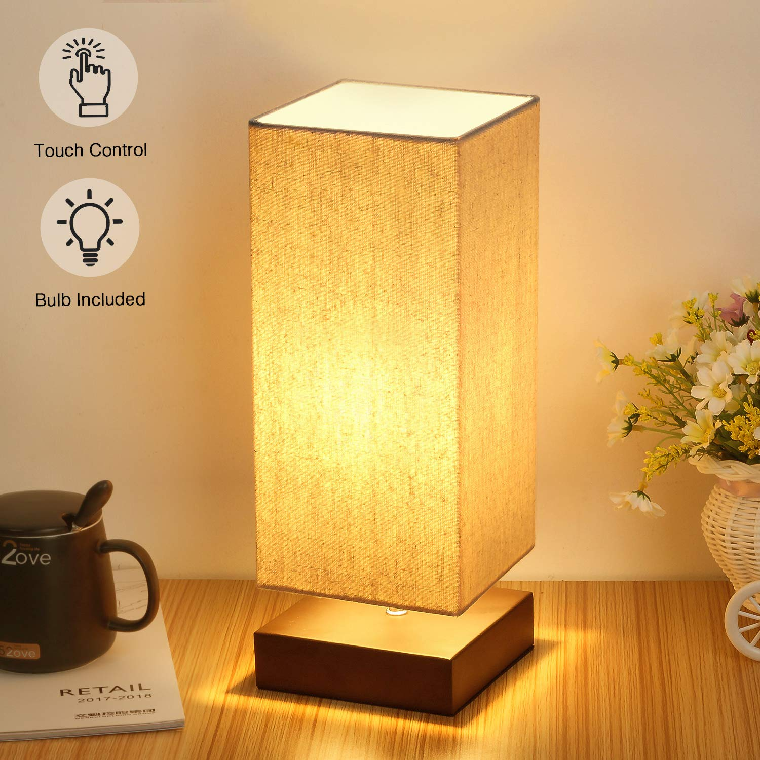 Touch Control Table Lamp Bedside 3 Way Dimmable Touch Desk Lamp Modern  Nightstand Lamp with Square Fabric Lamp Shade Simple Night Light for  Bedroom ...