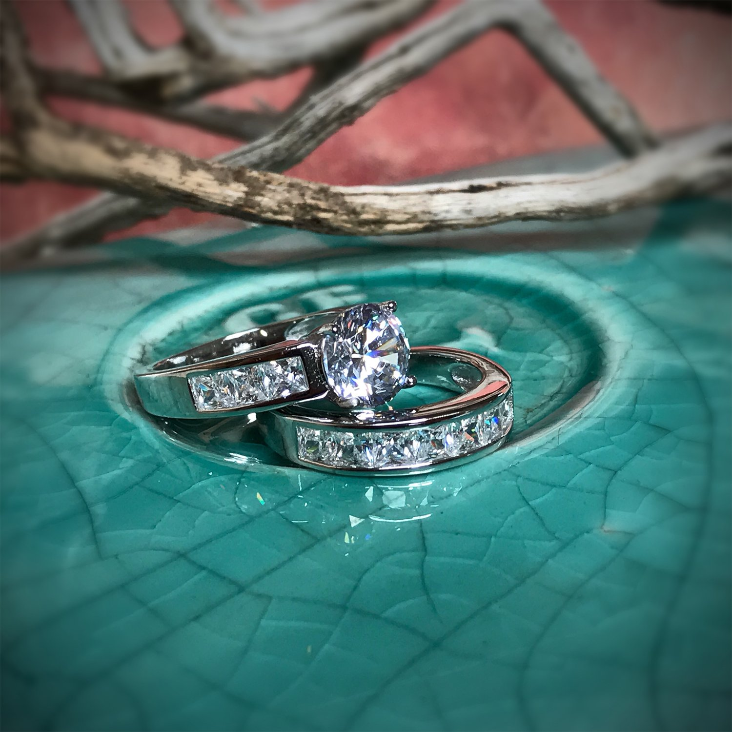 Sterling Silver Bridal Set Engagement Wedding Ring Bands with Round and Princess Cut Cubic Zirconia 7 by Bonndorf (Image #5)