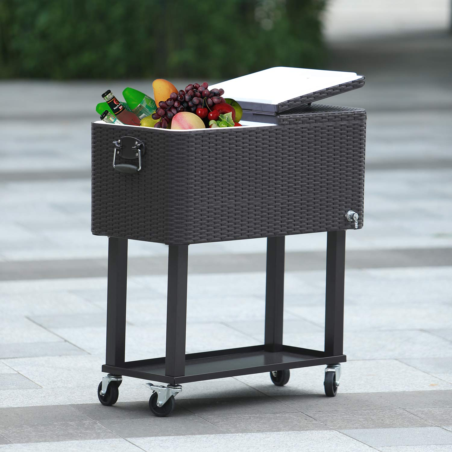 CAIDE-STORE with a Free Cover 80 Quart Outdoor Portable Cooler Patio Ice Chest Cooler Cart on Wheel by CAIDE-STORE (Image #8)