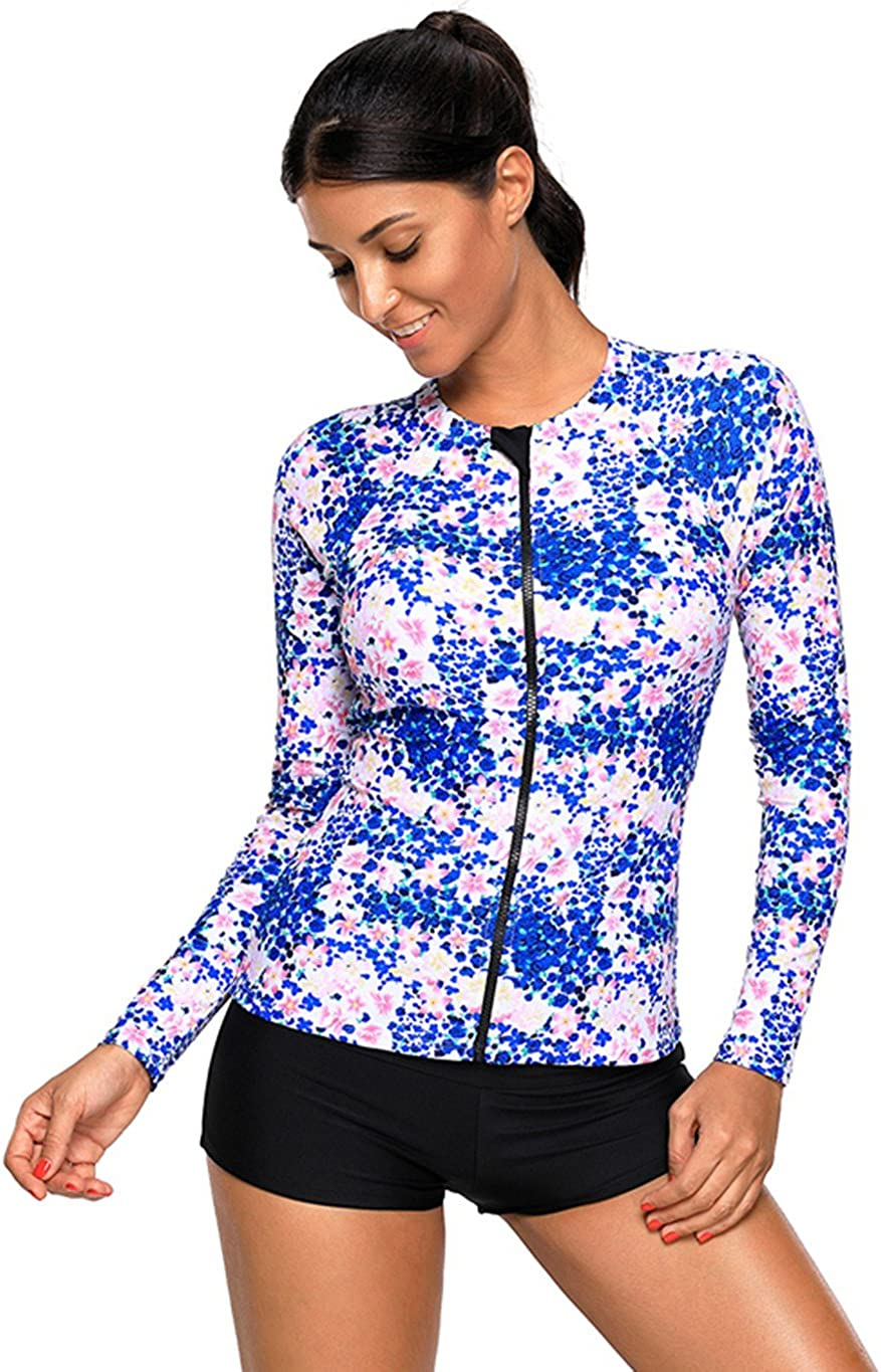 Foryingni Womens Zip Front Printed Long Sleeve Rash Guard Swimsuit Athletic Top