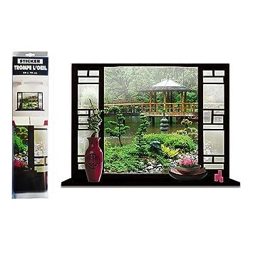 Sticker Mural Jardin en Trompe l\'œil: Amazon.fr: Cuisine & Maison