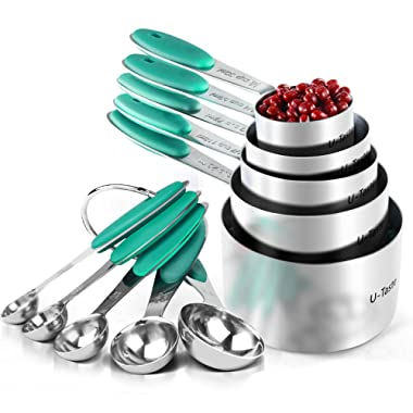 Measuring Cups : U-Taste 18/8 Stainless Steel Measuring Cups and Spoons Set of 10 Piece, Upgraded Thickness Handle(Teal/Turquoise)